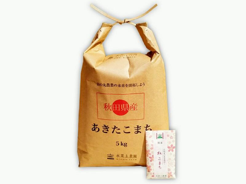 新米【3分つき精米】秋田県産 農家直送 あきたこまち 子どもに食べさせたいお米 5kg 令和元年産 古代米付き