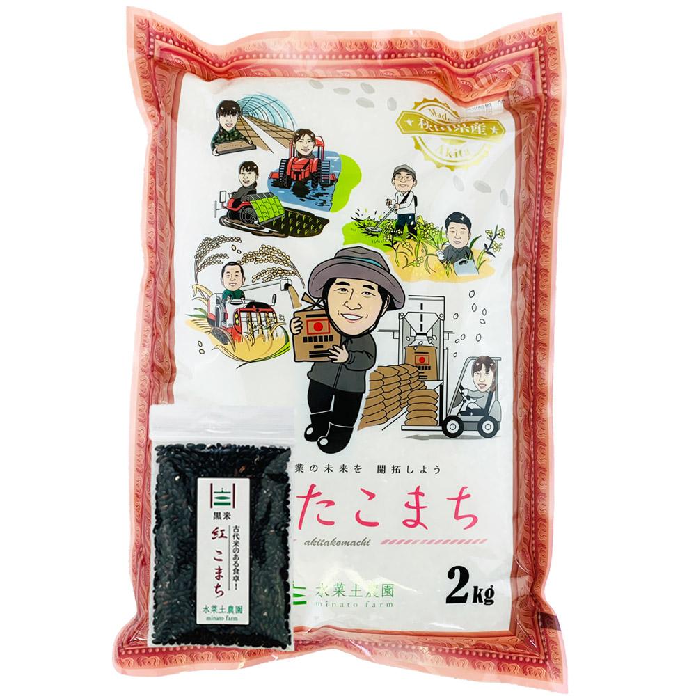 【精米】秋田県産 農家直送 あきたこまち 子どもに食べさせたいお米 2kg 令和2年産 古代米付き