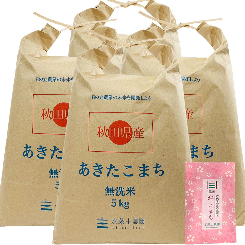 【定期便】秋田県産 農家直送 あきたこまち 子どもに食べさせたいお米 無洗米20kg(5kg×4袋) 古代米付き