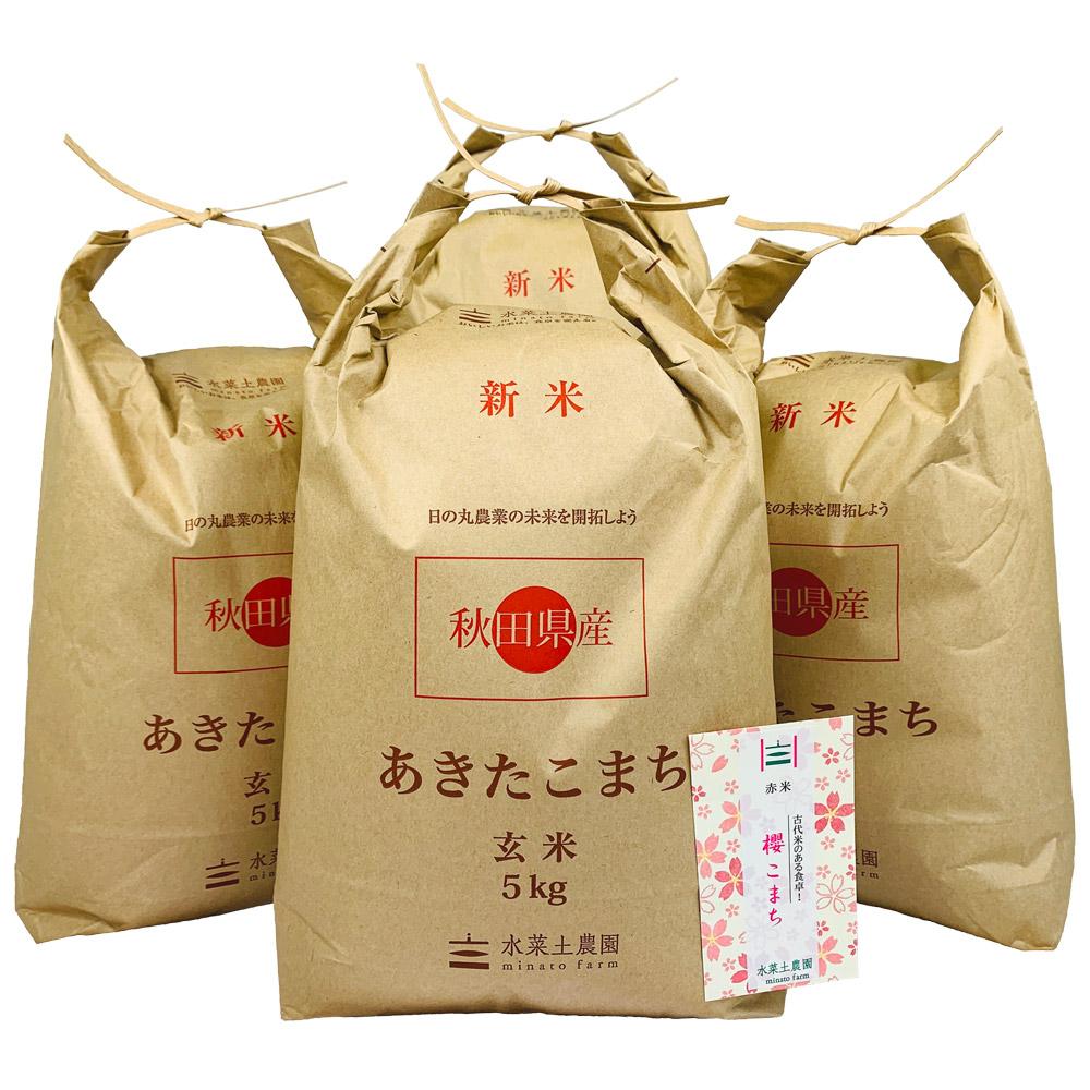 【玄米】秋田県産 農家直送 あきたこまち 子どもに食べさせたいお米 20kg(5kg×4袋) 令和2年産 古代米付き