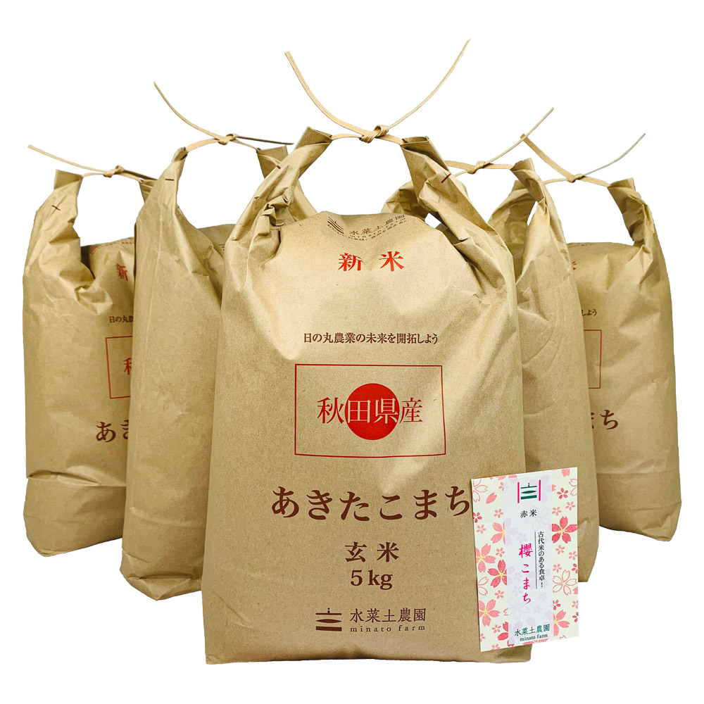 【玄米】秋田県産 農家直送 あきたこまち 子どもに食べさせたいお米 25kg(5kg×5袋) 令和2年産 古代米付き