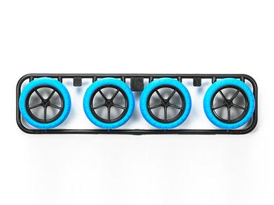 T95254 タミヤ ハードバレルタイヤ(ブルー)&カーボン強化大径ナローホイール