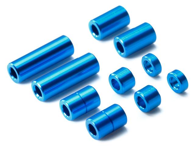 T95310 タミヤ アルミスペーサーセット(12/6.7/6/3/1.5mm各2個)(ブルー)