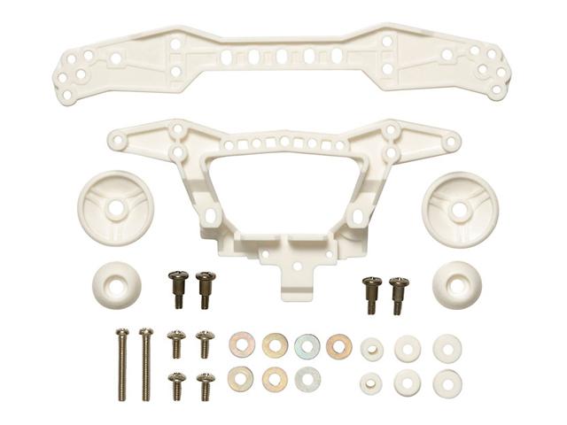 T95381 タミヤ 強化リヤダブルローラーステー (3点固定タイプ・ホワイト)