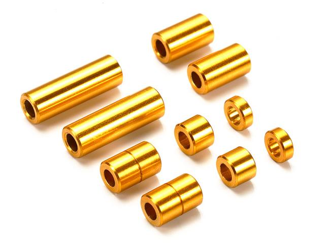 T95442 タミヤ アルミスペーサーセット(12/6.7/6/3/1.5mm各2個)(ゴールド)