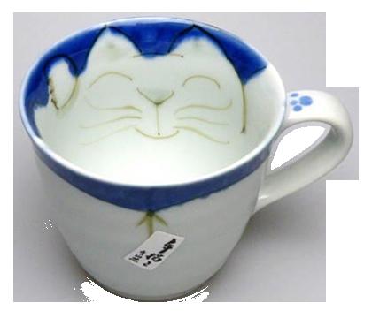マグカップ 座布団猫(青)