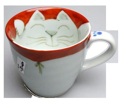 マグカップ 座布団猫(赤)