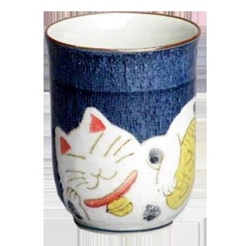 湯のみ 縁起猫(青)