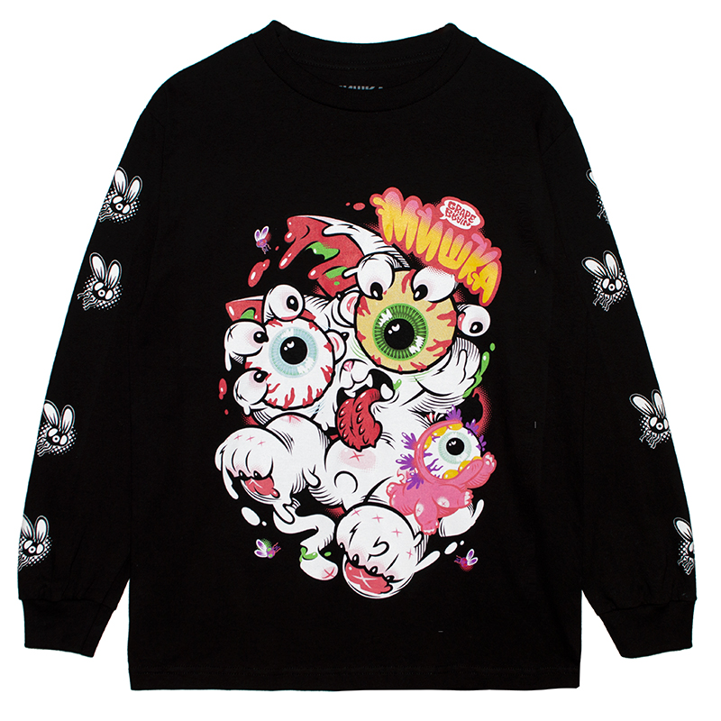 MISHKA x GRAPE BRAIN: KEEP WATCH ONIGIRI L/S TEE (BLACK/81311)