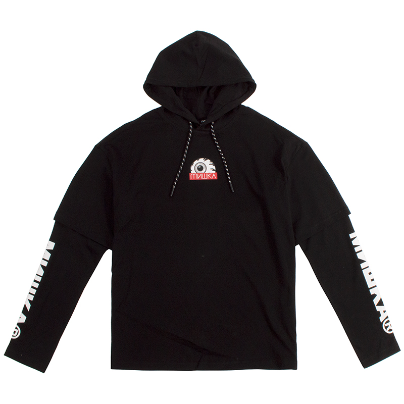 HIDE KEEP WATCH LAYERED L/S HOOD TEE (BLACK/MAW180452BLK)