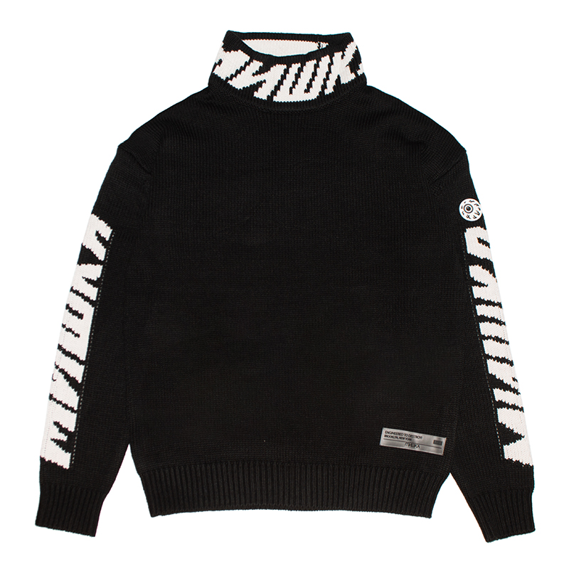 CYRILLIC LOGO MOCK-NECK SWEATER (BLACK/MAW200374BLK)