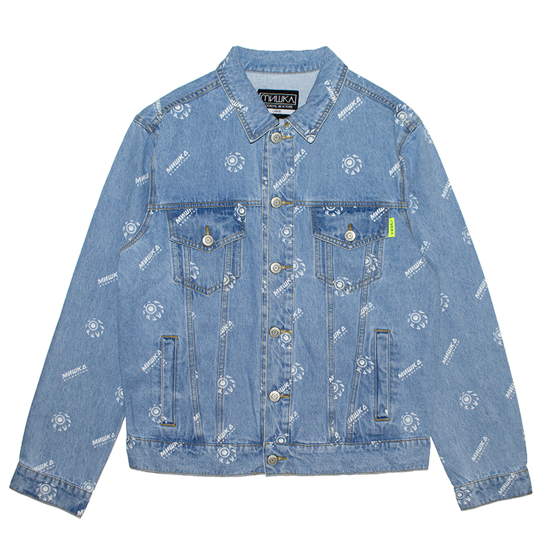 K.W ALLOVER PATTERN DENIM JACKET (L.INDIGO/MAW200508)