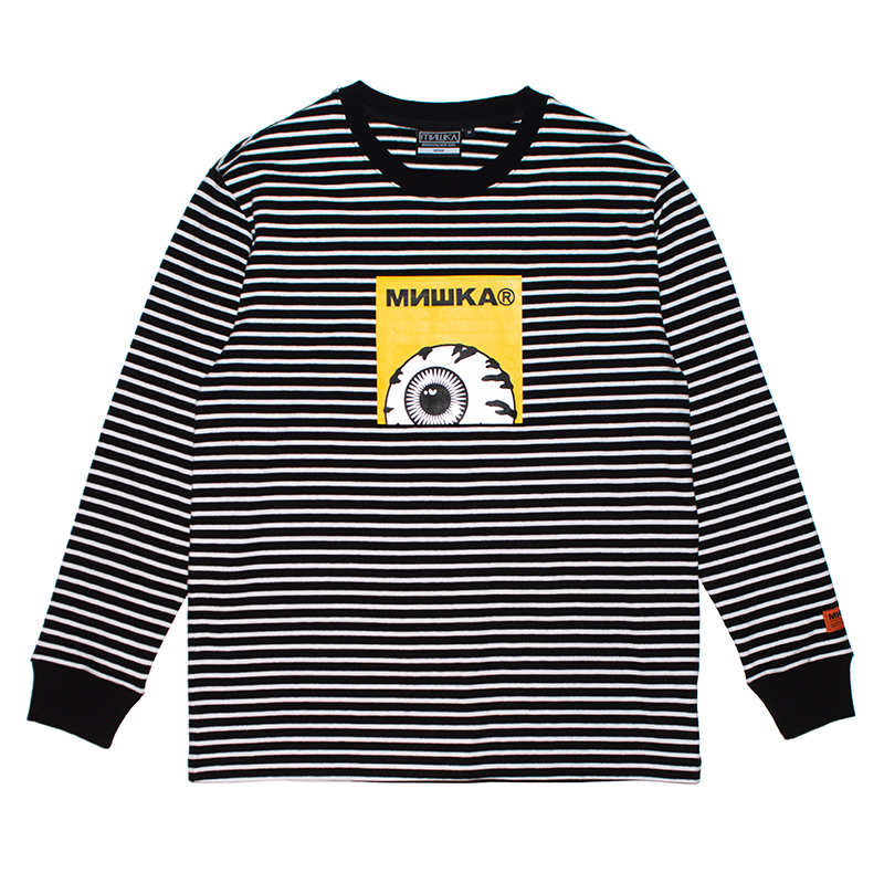 K.W STRIPE L/S KNIT TEE (BLACK/MSS190010)
