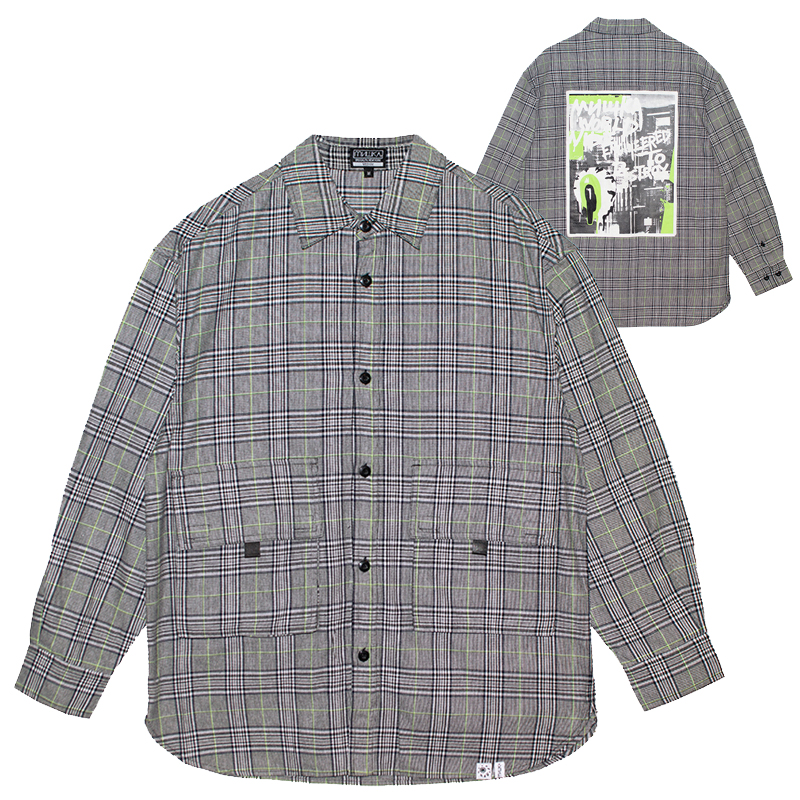 GLEN CHECK OVER SHIRT (BLACK/MSS200203)