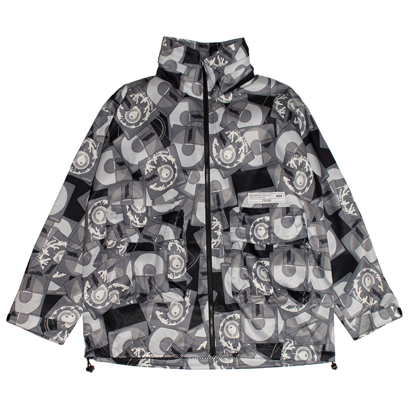 K.W MD PRINT HOODED JACKET (BLACK/MSS200515)