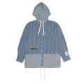 THE ENEMY HOODED BUTTON UP SHIRT (BLUE/M21000255)