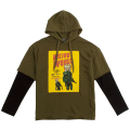 PSYCO SIMON FACE LAYERED HOODIE (OLIVE/MAW180006OLV)