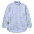 LOGO ALLOVER PATTERN STRIPE SHIRT (BLUE/MAW200207)
