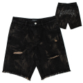 RIPPED MELT DENIM SHORTS (BLACK/MSS200908)