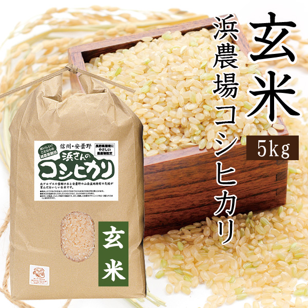 浜農場のコシヒカリ玄米 5きg
