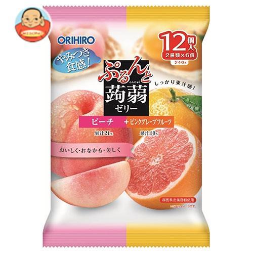 オリヒロ ぷるんと蒟蒻ゼリー ピーチ+ピンクグレープフルーツ 20gパウチ×12個×12袋入