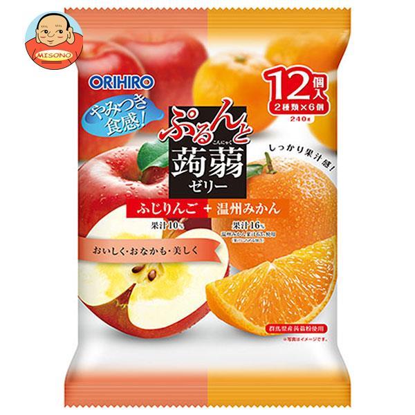 オリヒロ ぷるんと蒟蒻ゼリー 蜜りんご+温州みかん (20gパウチ×12個)×12袋入