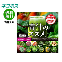 【全国送料無料】【ネコポス】健翔 12種類の国産野菜 青汁のススメ (3g×20包)×2袋入