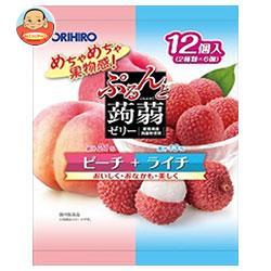 オリヒロ ぷるんと蒟蒻ゼリー ピーチ+ライチ 20gパウチ×12個×12袋入