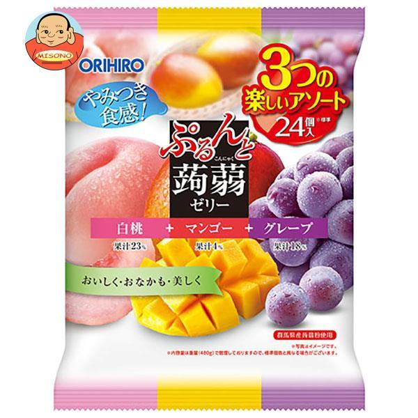 オリヒロ ぷるんと蒟蒻ゼリー ピーチ+マンゴー+グレープ 480g(20gパウチ×24個)×12袋入