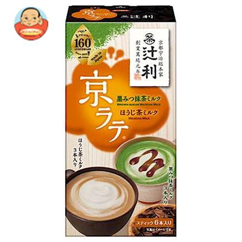 片岡物産 辻利 京ラテ 黒みつ抹茶ミルクとほうじ茶ミルク 6本(3本×2種)×30箱入
