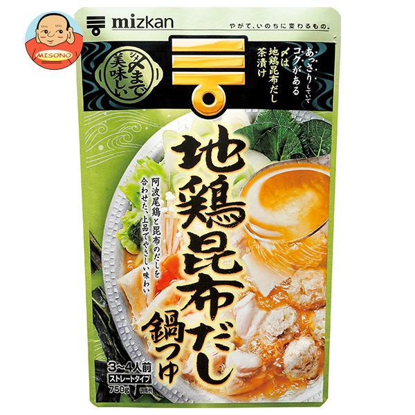 ミツカン 〆まで美味しい 地鶏昆布だし鍋つゆ ストレート 750g×12袋入