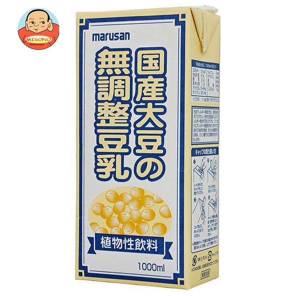 マルサンアイ 国産大豆の無調整豆乳 1000ml紙パック×12(6×2)本入