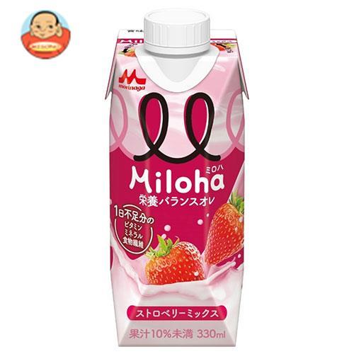 森永乳業 ミルク&フルーツPLUS+ ストロベリーミックス(プリズマ容器) 330ml紙パック×12本入