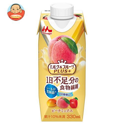 森永乳業 ミルク&フルーツPLUS+ ピーチミックス(プリズマ容器) 330ml紙パック×12本入