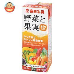 毎日牛乳 野菜と果実 橙 200ml紙パック×24本入