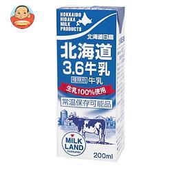 南日本酪農協同 北海道日高3.6牛乳 200ml紙パック×24本入