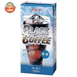 三本コーヒー アイスブラックコーヒー無糖 1000ml紙パック×6本入