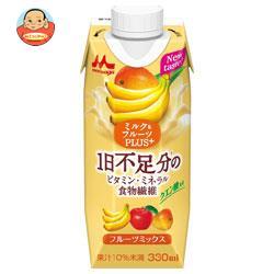 森永乳業 ミルク&フルーツPLUS+ フルーツミックス(プリズマ容器) 330ml紙パック×12本入