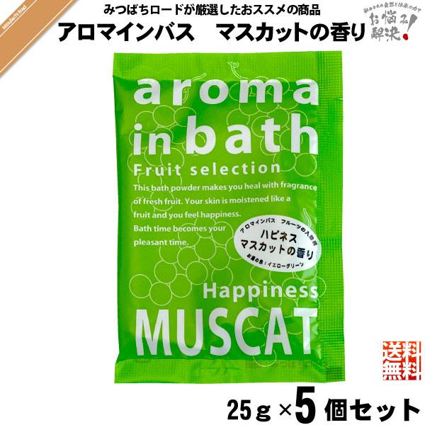 【お手軽 / 5個セット】入浴剤 aroma in bath アロマインバス マスカットの香り(25g)【送料無料】