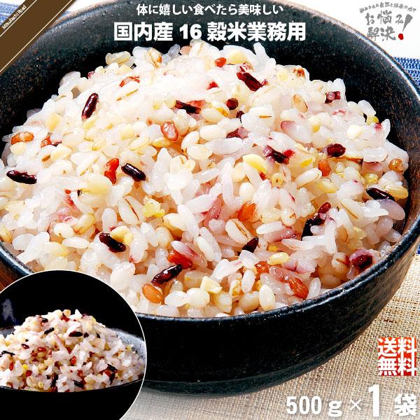 【お手軽】国内産十六穀米 業務用 (500g)【送料無料】