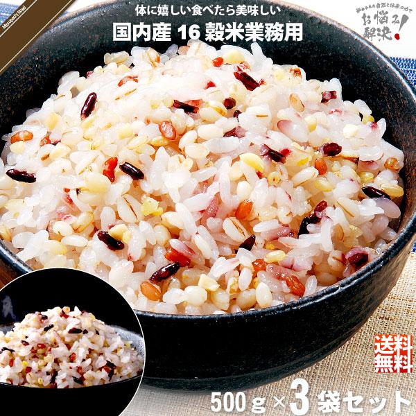 【お手軽 / 3個セット】国内産十六穀米 業務用 (500g)【送料無料】