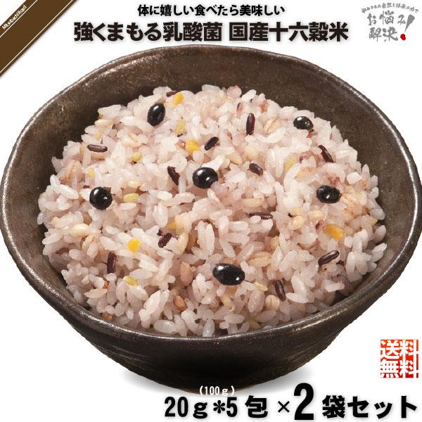 【お手軽 / 2個セット】強くまもる乳酸菌 国産 十六穀米 (20g×5包)【送料無料】