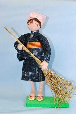 いってらっしゃい ★ 人形 ★ 和調生地で作る手芸 ★ オリジナル手芸 ★ 竹ぼうきは完成品入り [CO-0004]