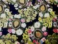 ラメ入り和調生地 ★ 花柄 ★ No.198 ★ 綿 100 % ★ エプロン、作務衣、小物手芸などに ★ 110 cm 幅 [g-0198]