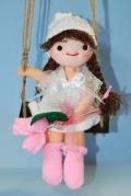 ハッピーブランコ ★ 軍手(てぶくろ)人形 ★ 白 ★ カラー軍手で作る手芸 ★ オリジナル手芸 [T-0008]