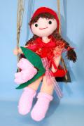 ハッピーブランコ ★ 軍手(てぶくろ)人形 ★ 赤 ★ カラー軍手で作る手芸 ★ オリジナル手芸 [T-0010]