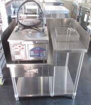 美品 ニチワ 電気オートリフトフライヤー TEF-13-4-1LNSP 専用架台付き 2012年 適正油量13L 中古