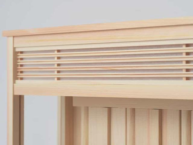箱宮「さくら」:シンプルながら細やかな意匠の欄間