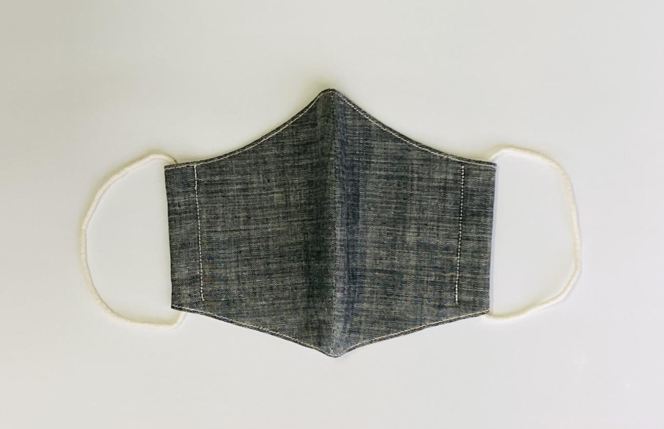 シルク in マスク オーガニックタンガリー 本藍 シルクを挟んだ布マスク 洗えるマスク