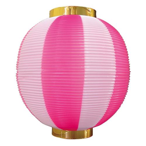 ポリ提灯・提燈(ちょうちん) 8876 尺丸 ピンク白